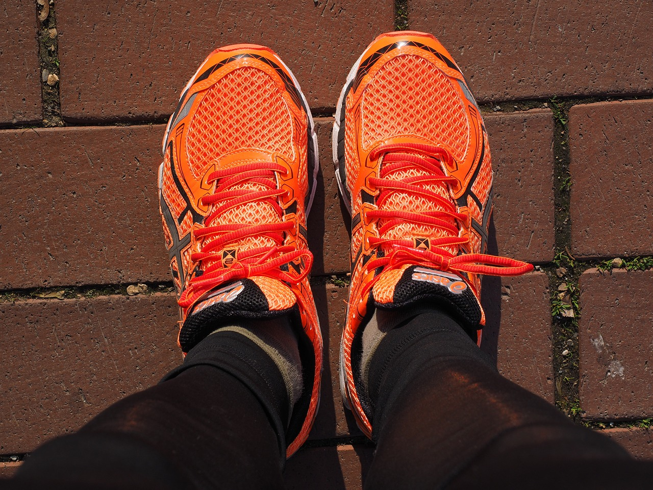 10,000 steps a day, orange shoes