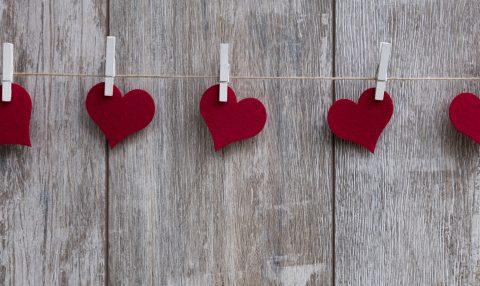 String of felt hearts on clips