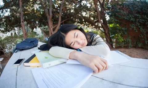 Student asleep on top of books with trees behind her