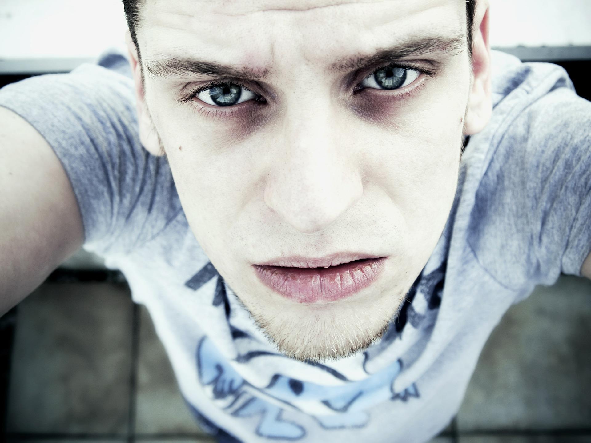 Selfie looking down at man with pale skin